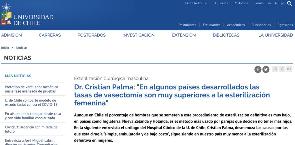 Entrevista Universidad de Chile Dr Cristián Palma Ceppi